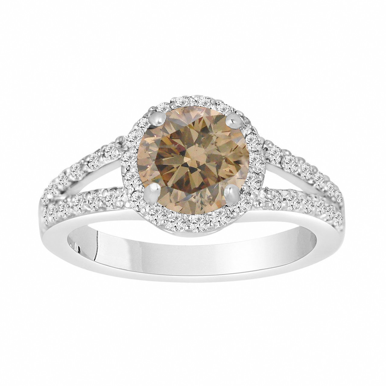 Fancy Brown Champagne Diamond Engagement Ring 172 Carat 14k White
