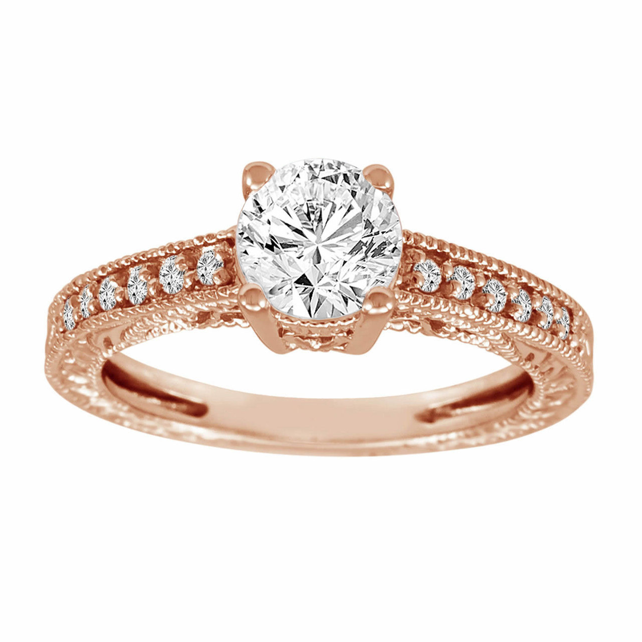 Antique Style 4 2mm Platinum Men S Wedding Band With: Diamond Engagement Ring 14K Rose Gold 1.15 Carat Certified