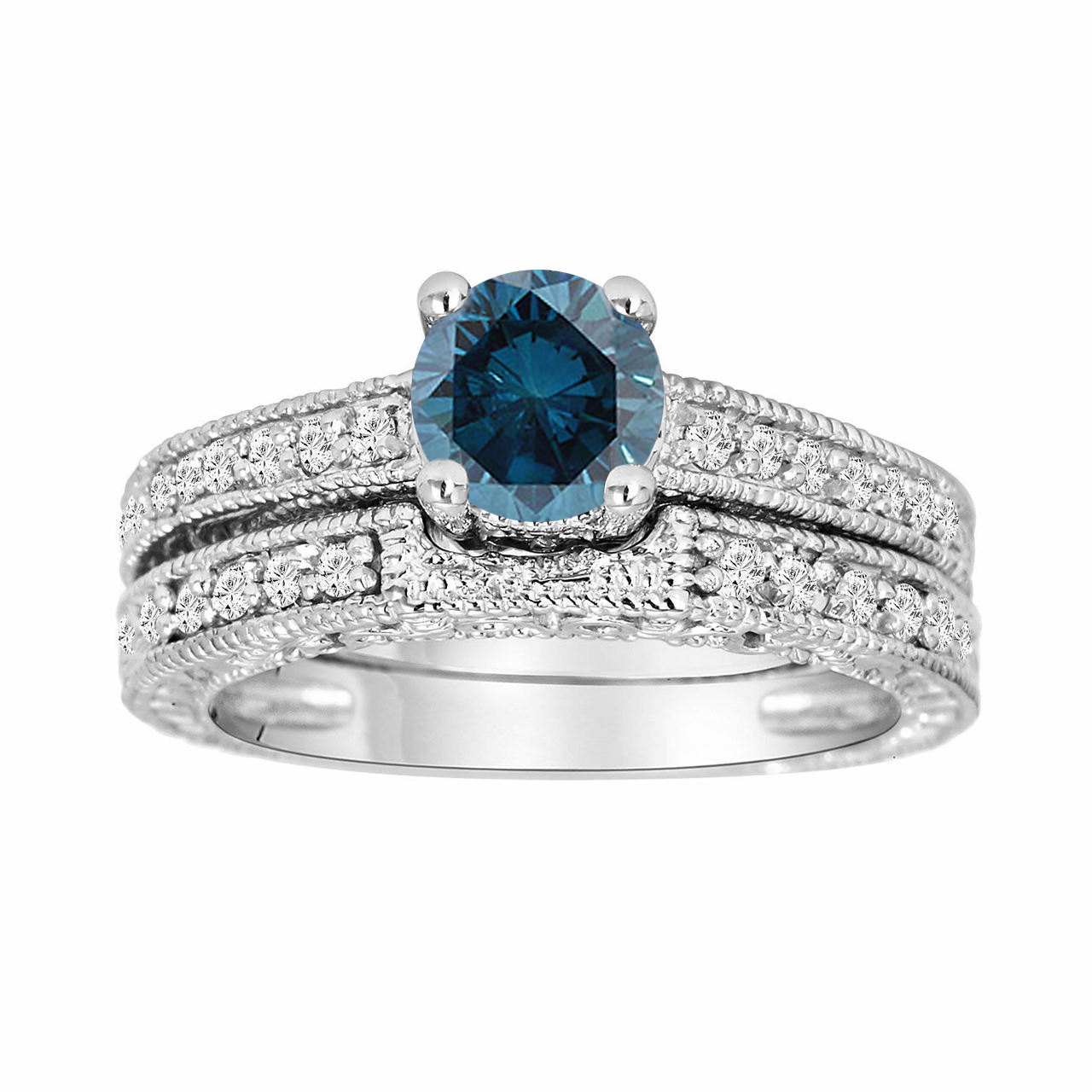 Antique Style 4 2mm Platinum Men S Wedding Band With: Platinum Fancy Blue Diamond Engagement Ring And Wedding