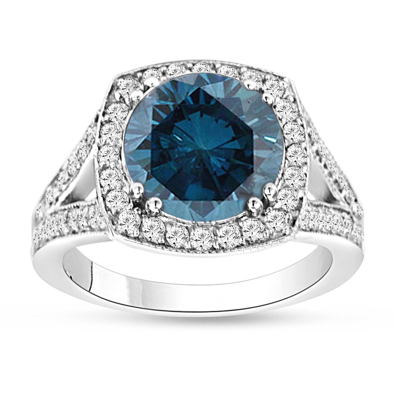 3.83 Carat Fancy Blue Diamond Engagement Ring 14K White ...