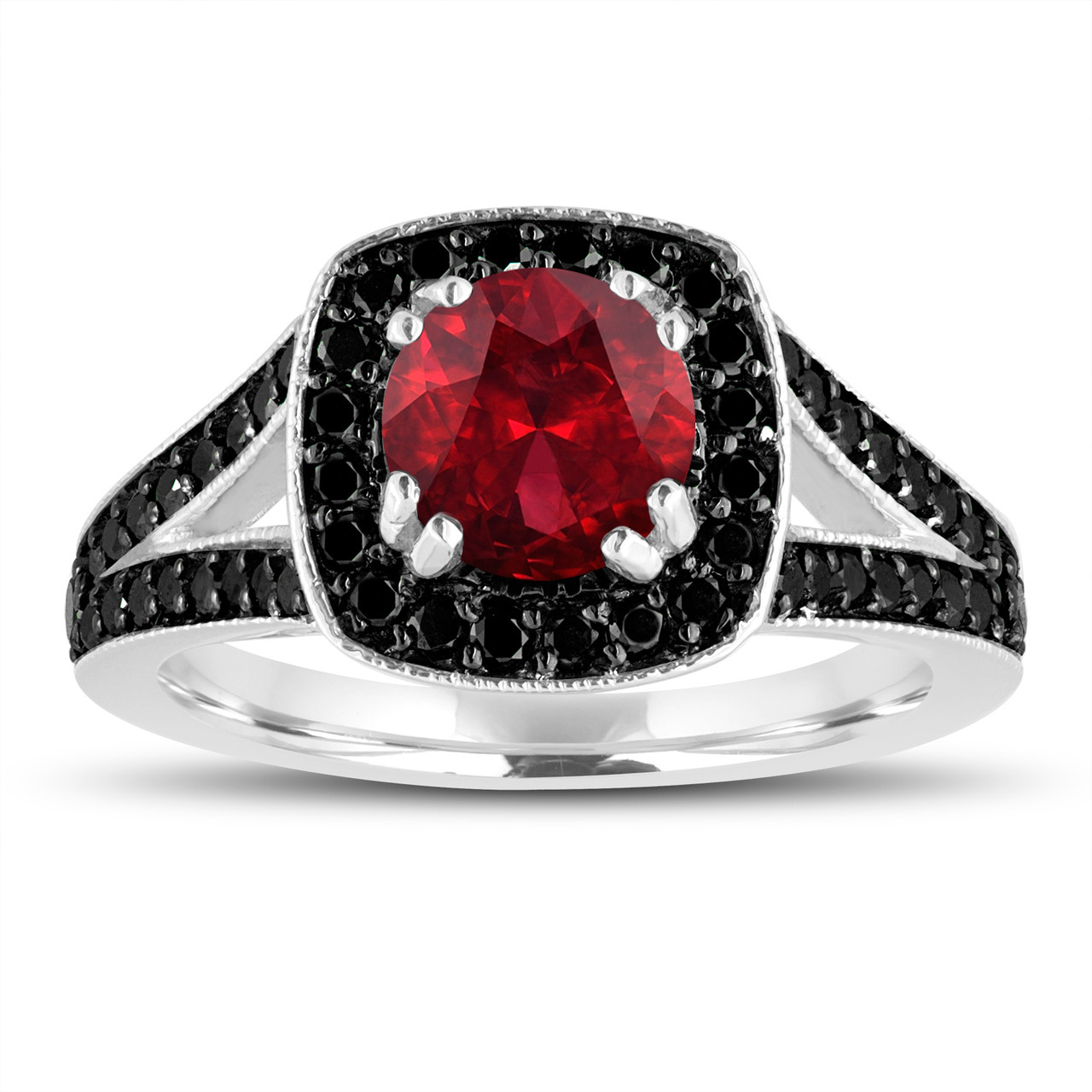 Red Garnet And Fancy Black Diamonds Engagement Ring 14K