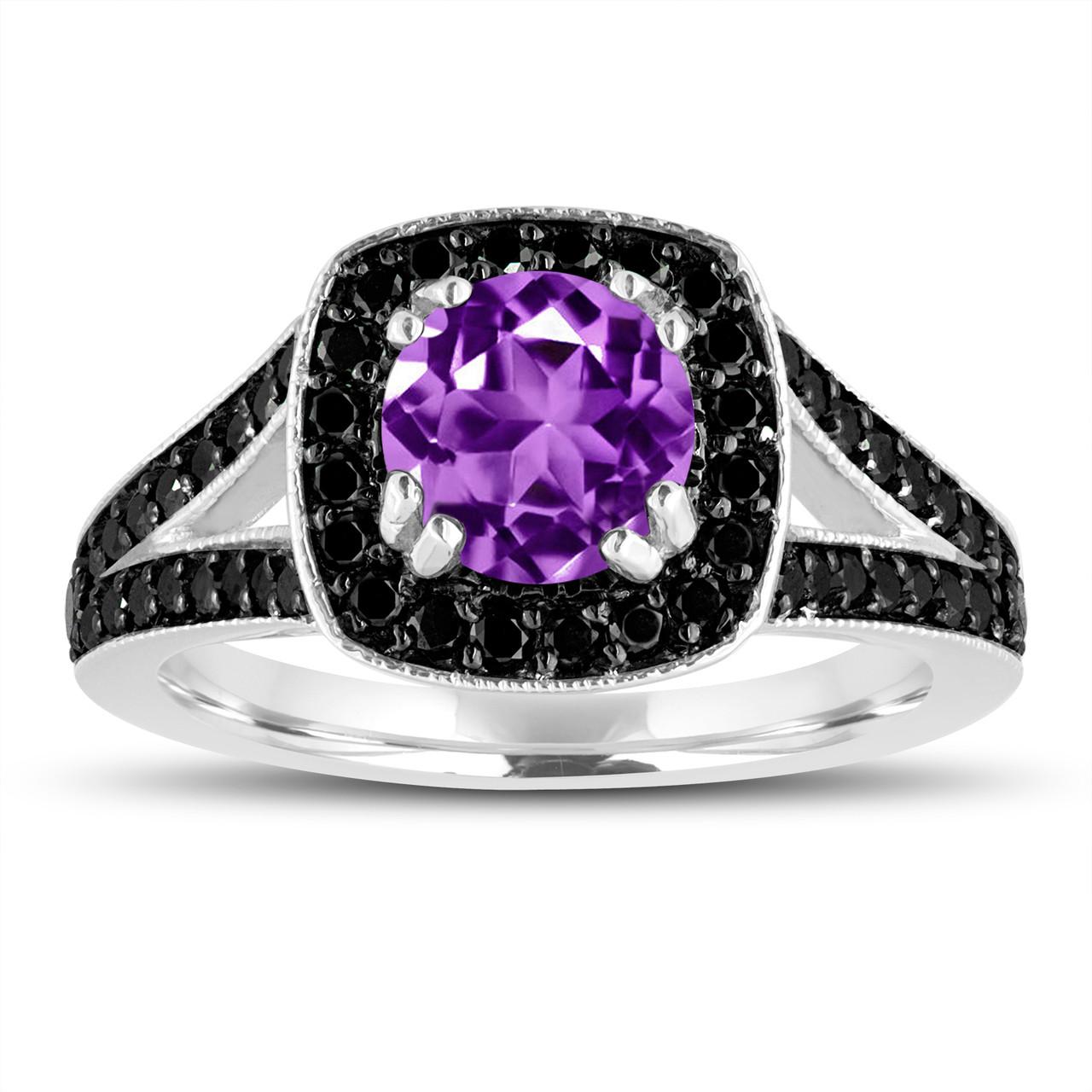 Red Garnet Engagement Ring 14k Black Gold Vintage Style 1 76 Carat Halo Pave Handmade