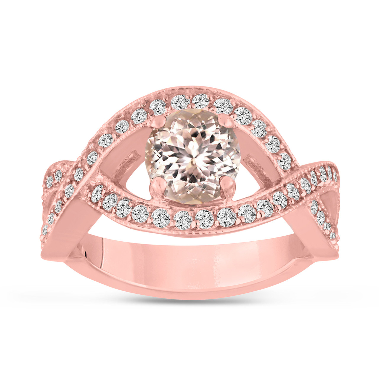 Morganite Engagement Ring Rose Gold, Pink Peach Morganite Bridal ...