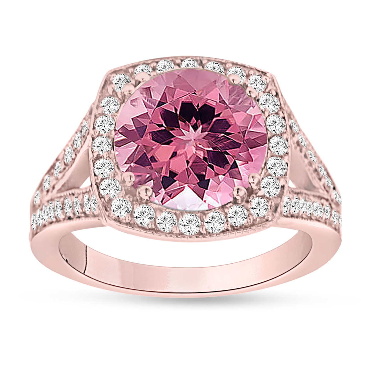 Pink Tourmaline Engagement Ring 14K Rose Gold 3.25 Carat Pave Halo ...