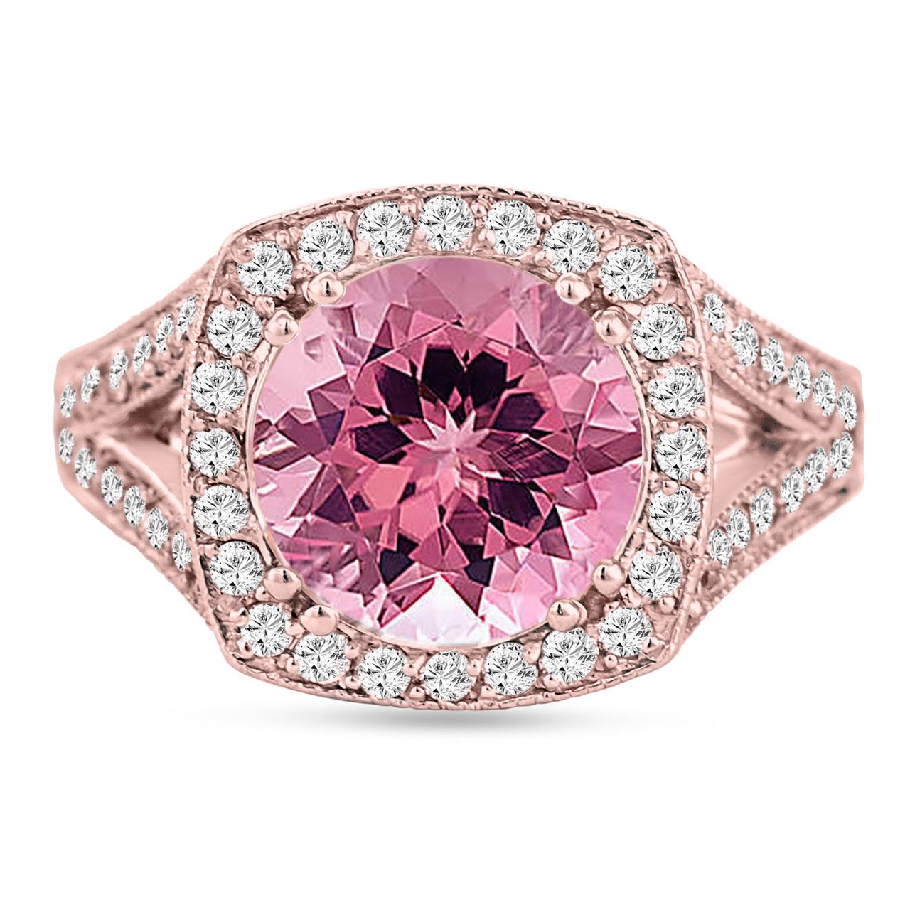 Pink Tourmaline Engagement Ring 14K Rose Gold 3.25 Carat Pave Halo ...