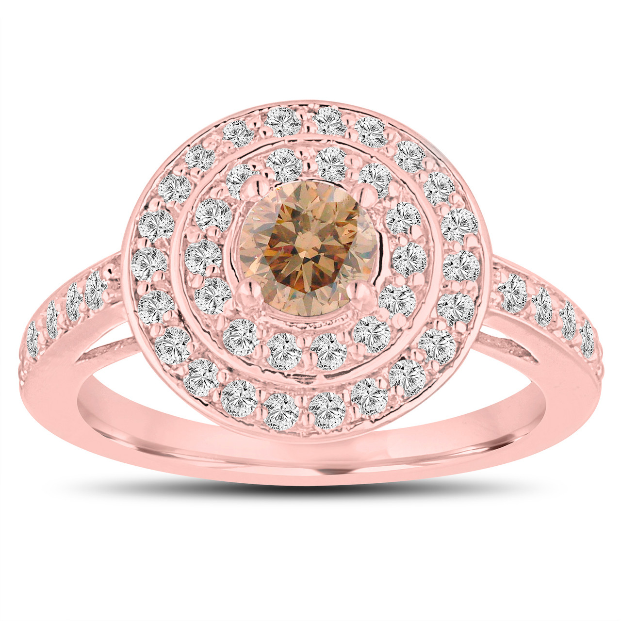 Fancy Champagne Diamond Engagement Ring 14K Rose Gold ...