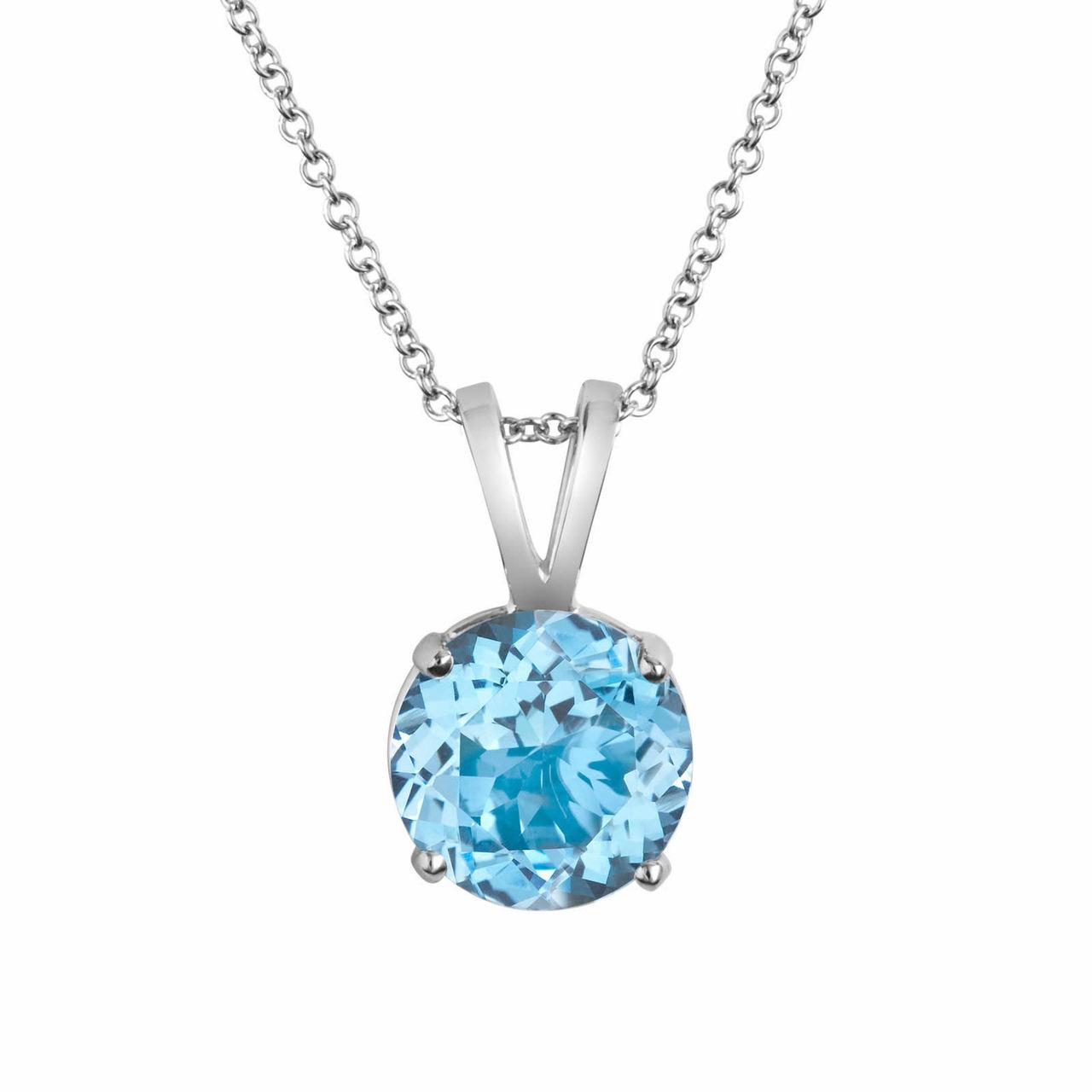 14k white gold aquamarine solitaire pendant necklace 100 carat handmade aloadofball Image collections