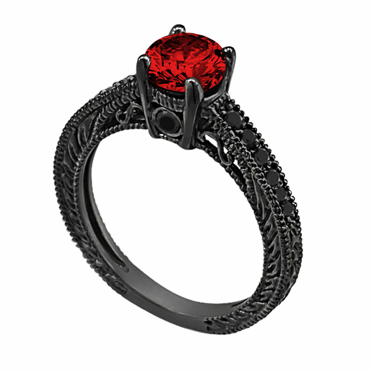 Engagement Rings With Black: 0.71 Carat Fancy Red And Black Diamond Engagement Ring 14K