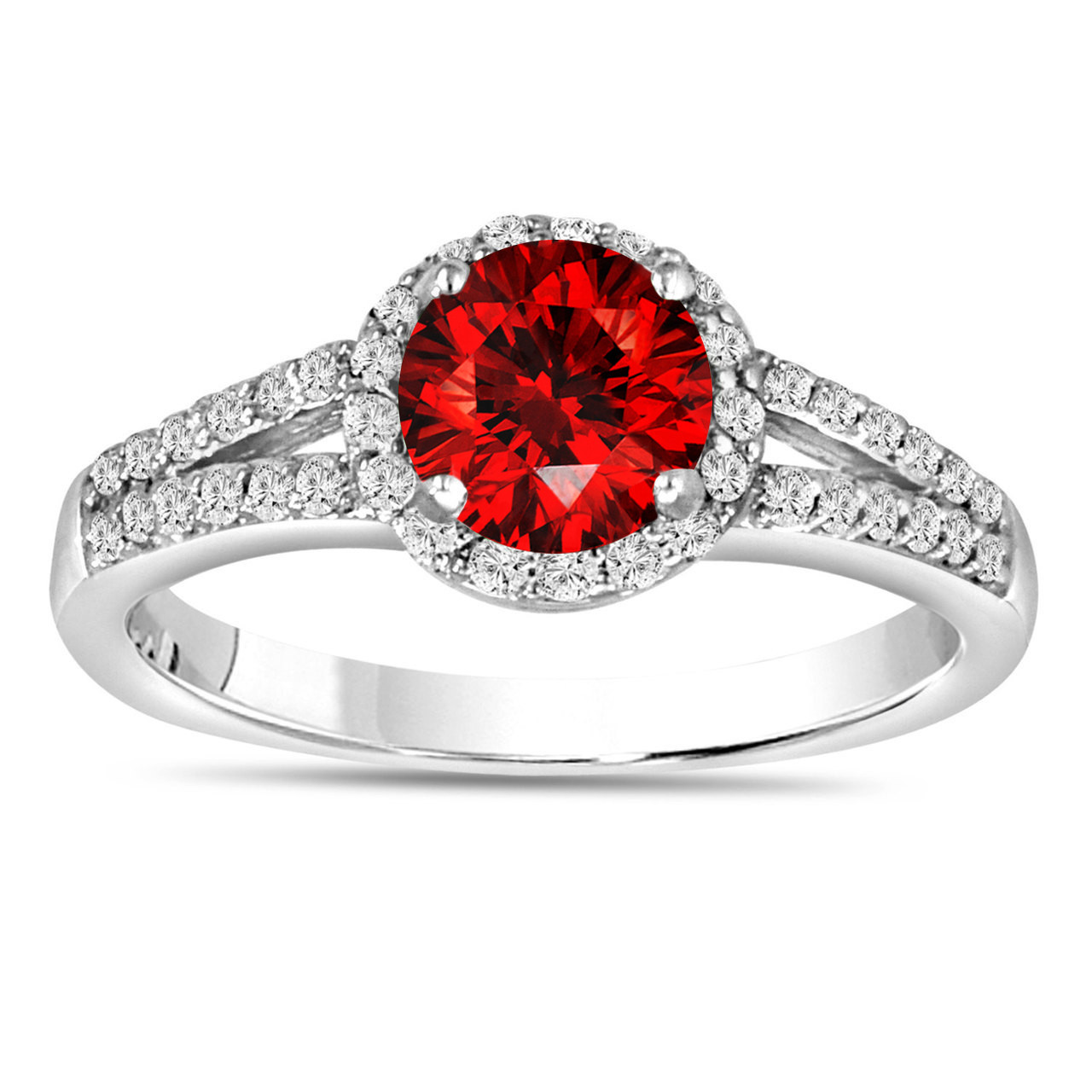 1.00 Carat Fancy Red Diamond Engagement Ring 14K White