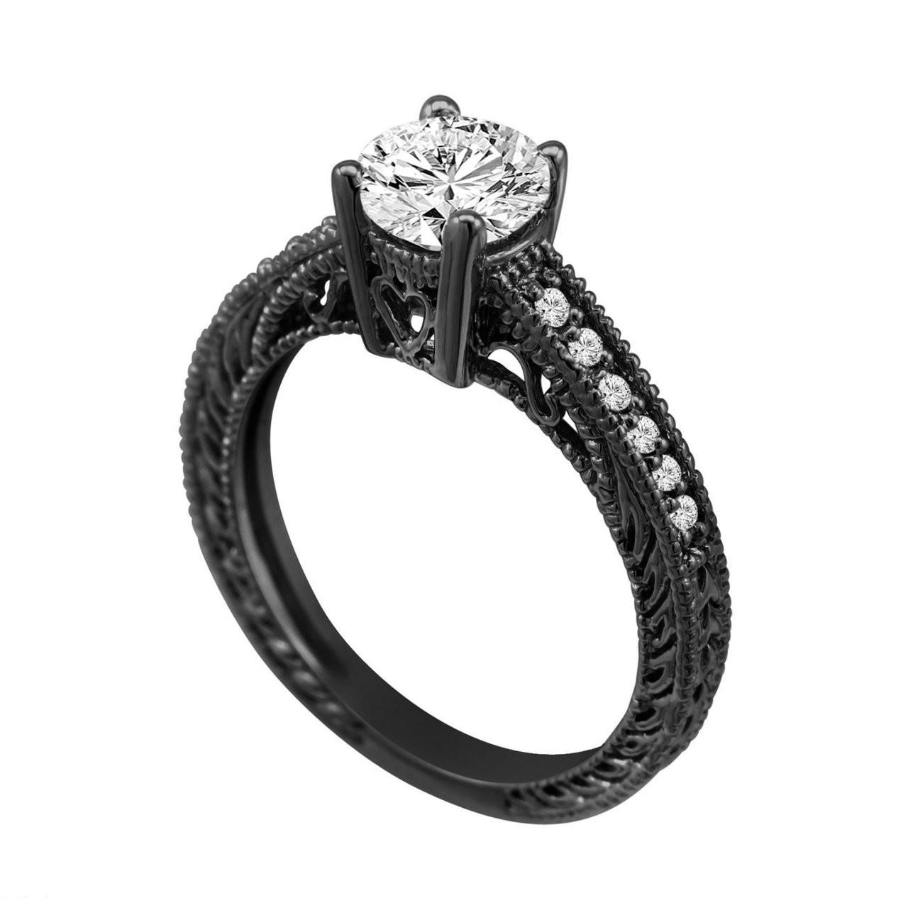 0.50 Carat Natural Diamond Engagement Ring 14K Black Gold ...