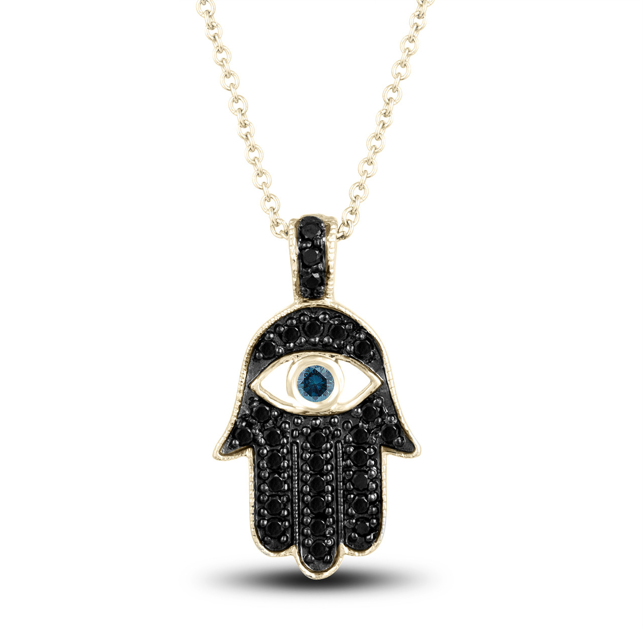 Fancy black diamond hamsa pendant necklace blue diamond eye 036 fancy black diamond hamsa pendant necklace blue diamond eye 036 carat 14k yellow gold unique handmade pave set mozeypictures