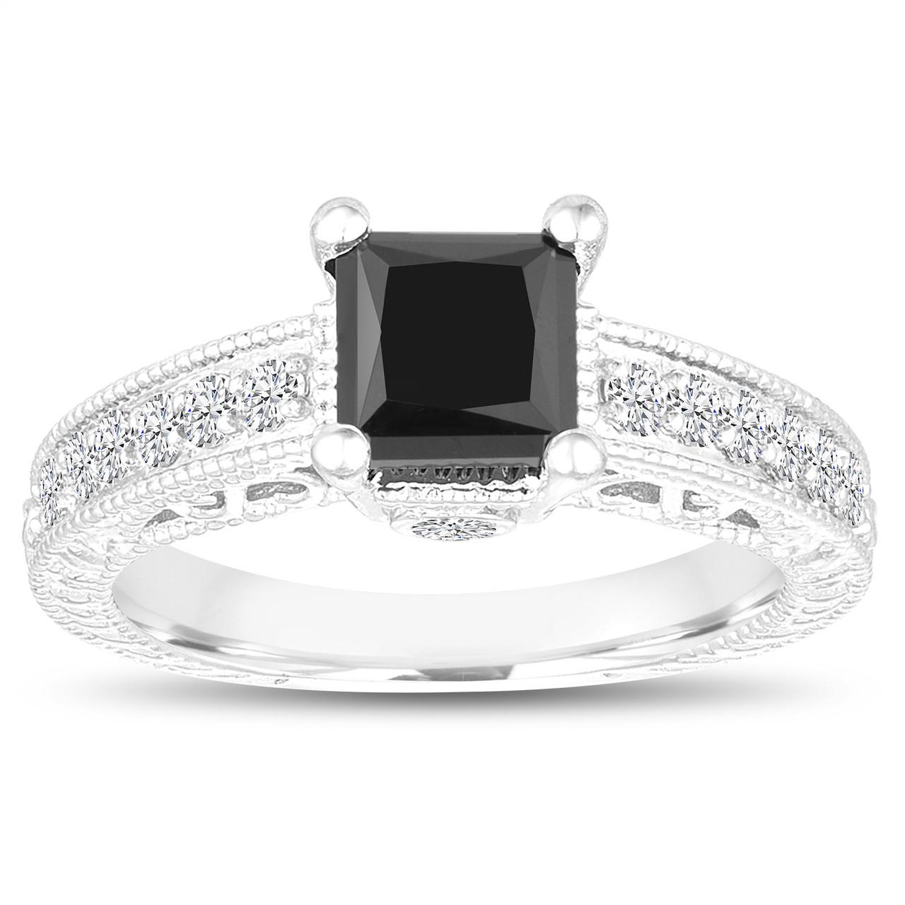 Unique Princess Cut Fancy Black Diamond Engagement Ring 1 65 Carat 14k White Gold