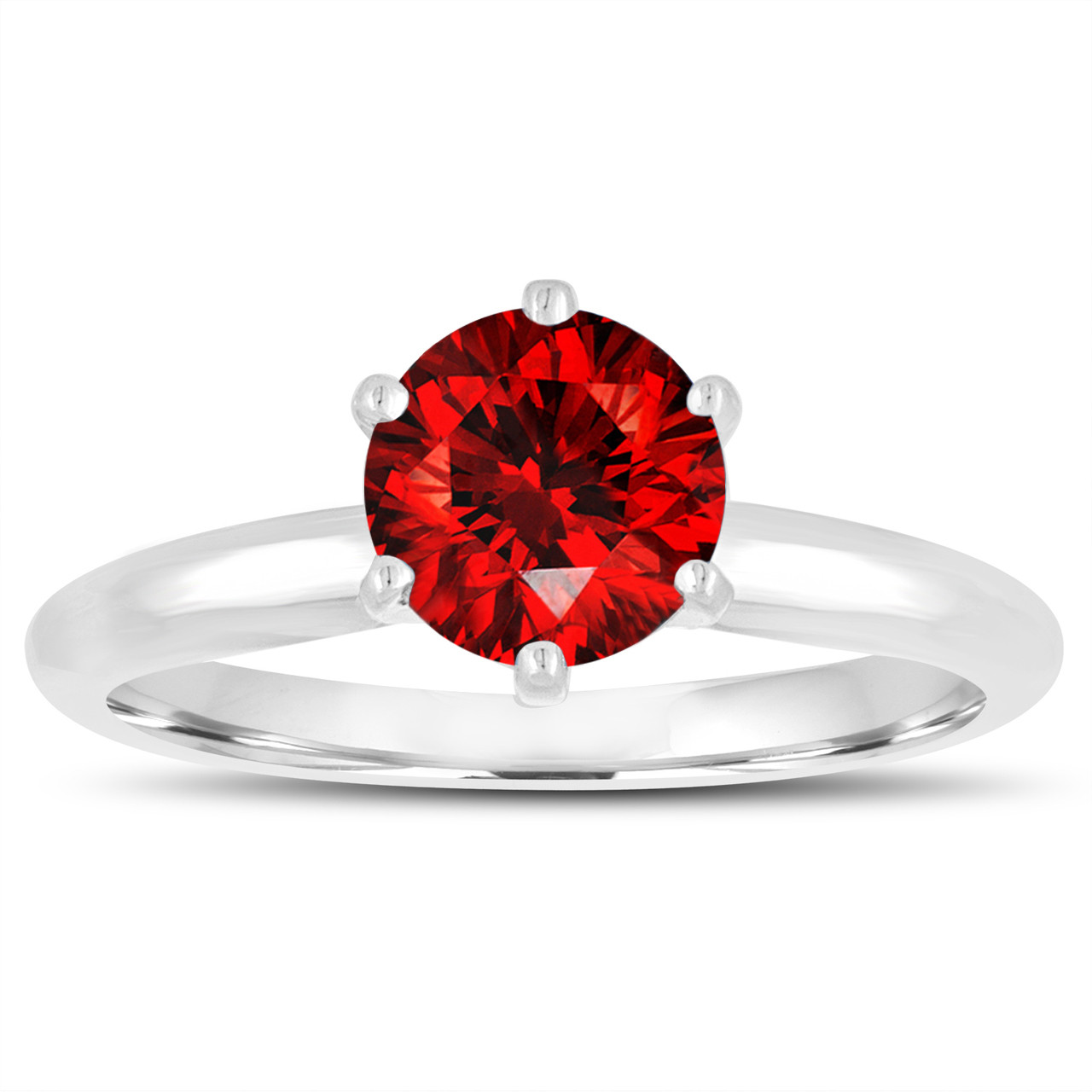0 70 Carat Fancy Red Diamond Solitaire Engagement Ring 14k
