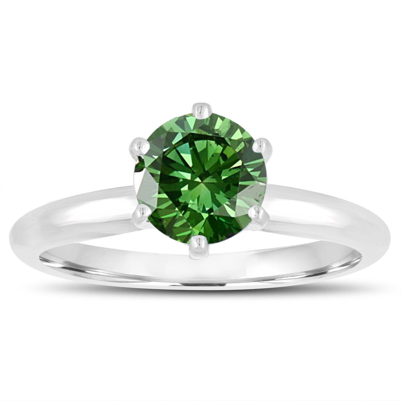 1 00 Carat Green Diamond Solitaire Engagement Ring 6 Prong
