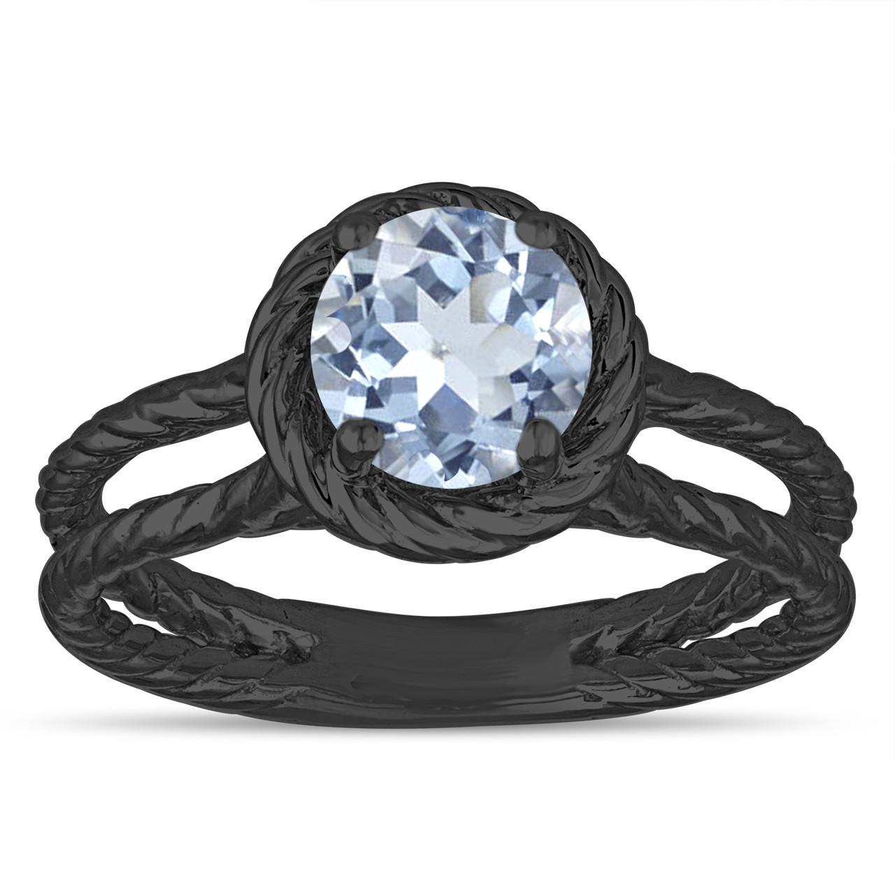 Blue Aquamarine Solitaire Engagement Ring Rope Design Wedding Ring