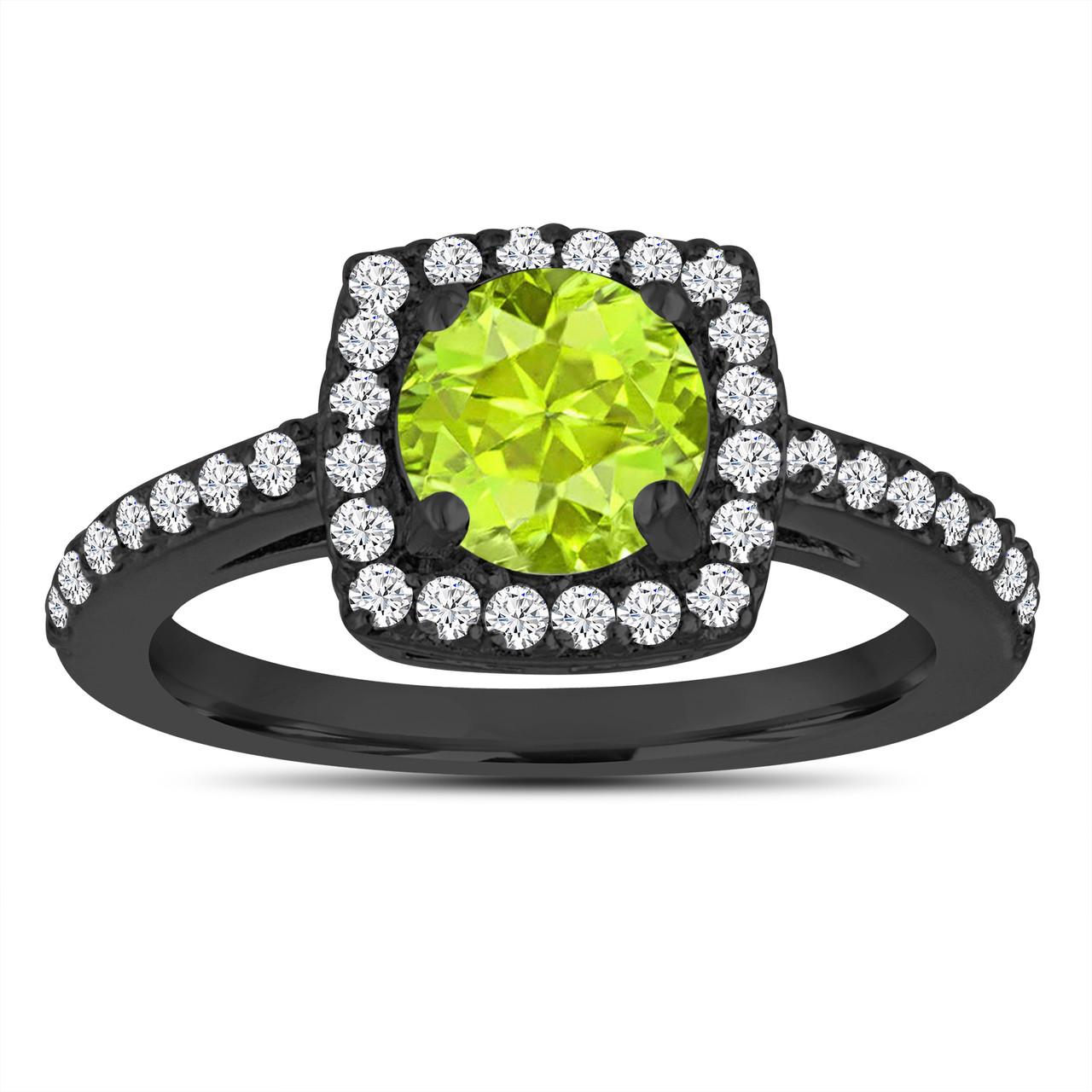 peridot engagement ring wedding ring 14k black gold. Black Bedroom Furniture Sets. Home Design Ideas