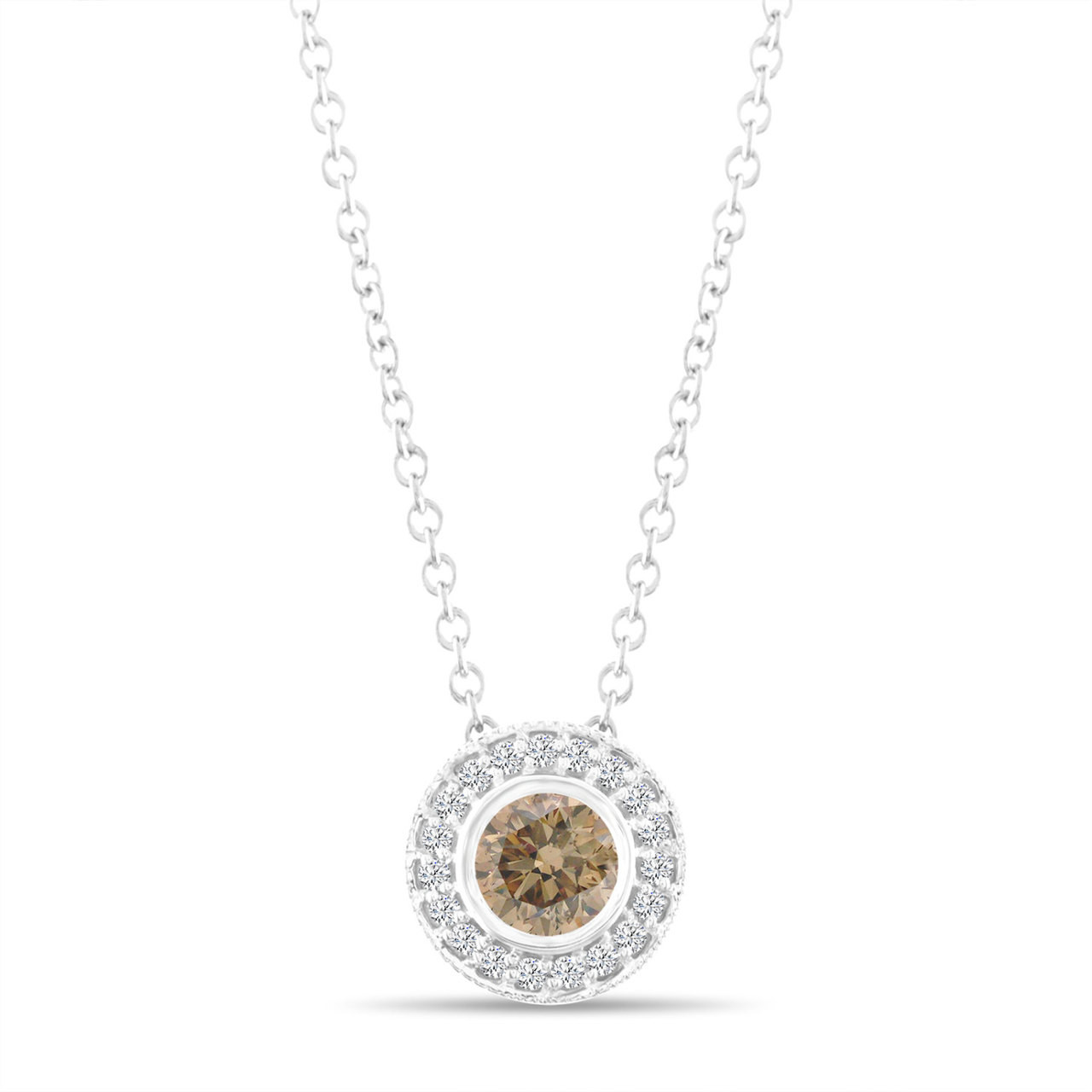 Fancy champagne brown diamond pendant necklace 14k white gold 045 fancy champagne brown diamond pendant necklace 14k white gold 045 carat halo bezel and micro pave set handmade mozeypictures Image collections