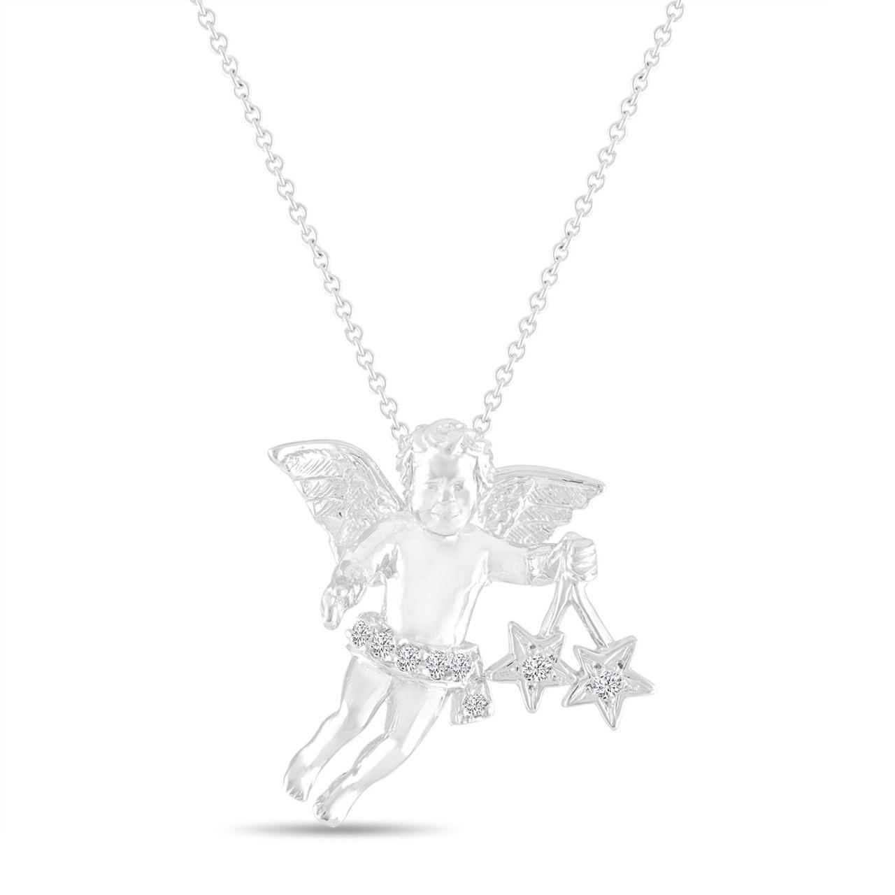 Diamond angel pendant necklace 14k white gold handmade unique 015 carat aloadofball Image collections