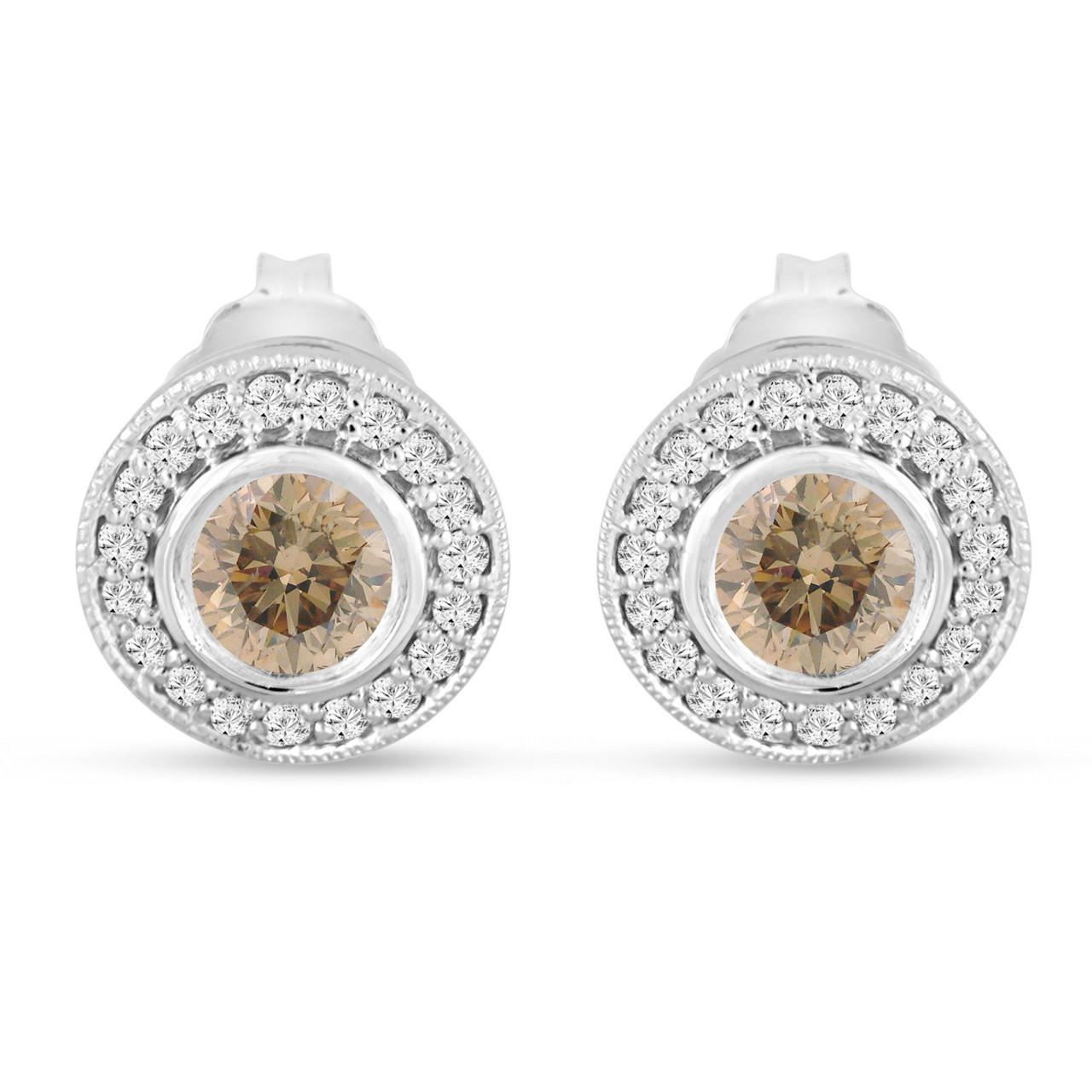champagne diamond stud earrings halo 14k white gold. Black Bedroom Furniture Sets. Home Design Ideas