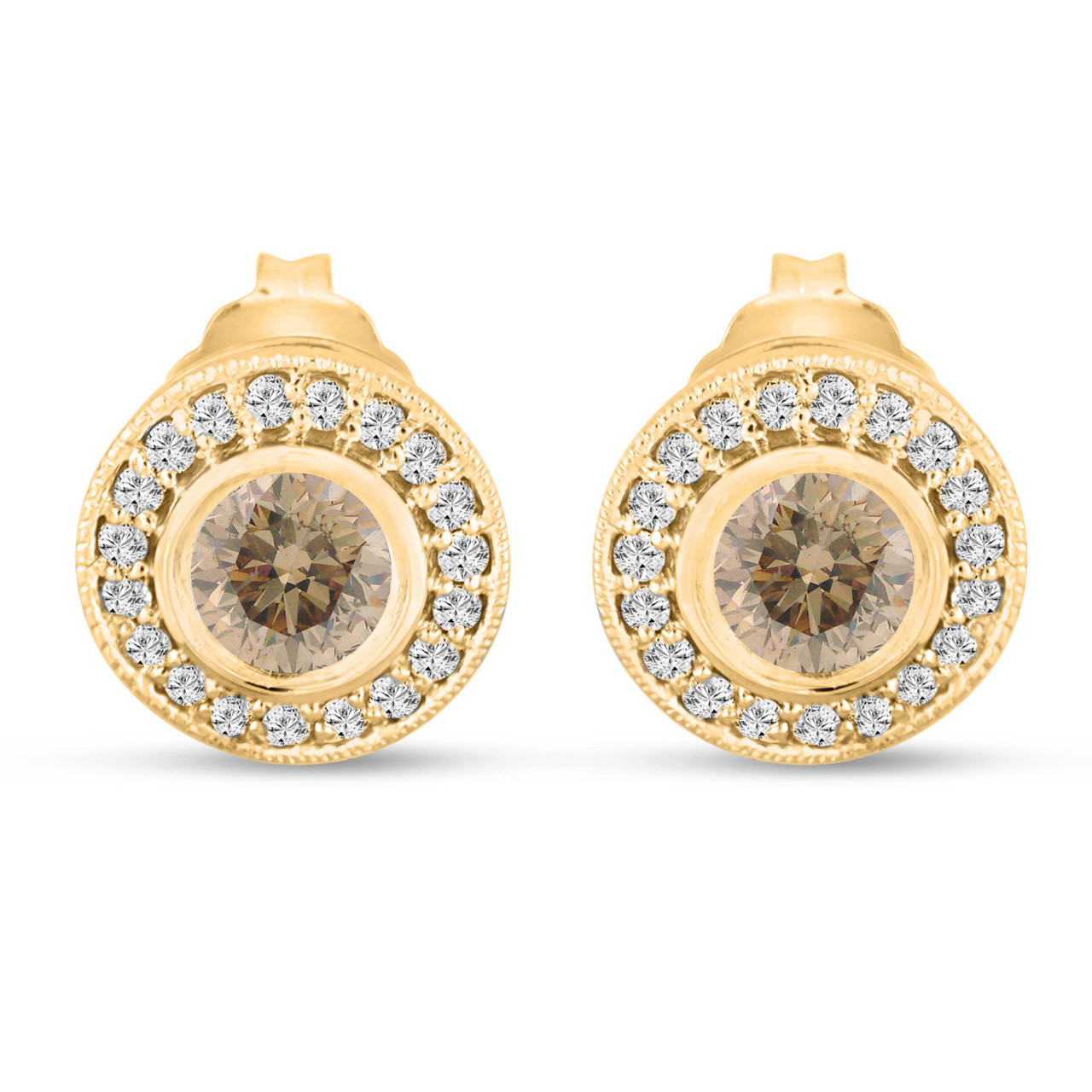 stud champagne gold elora pin diamond earrings tdw rose