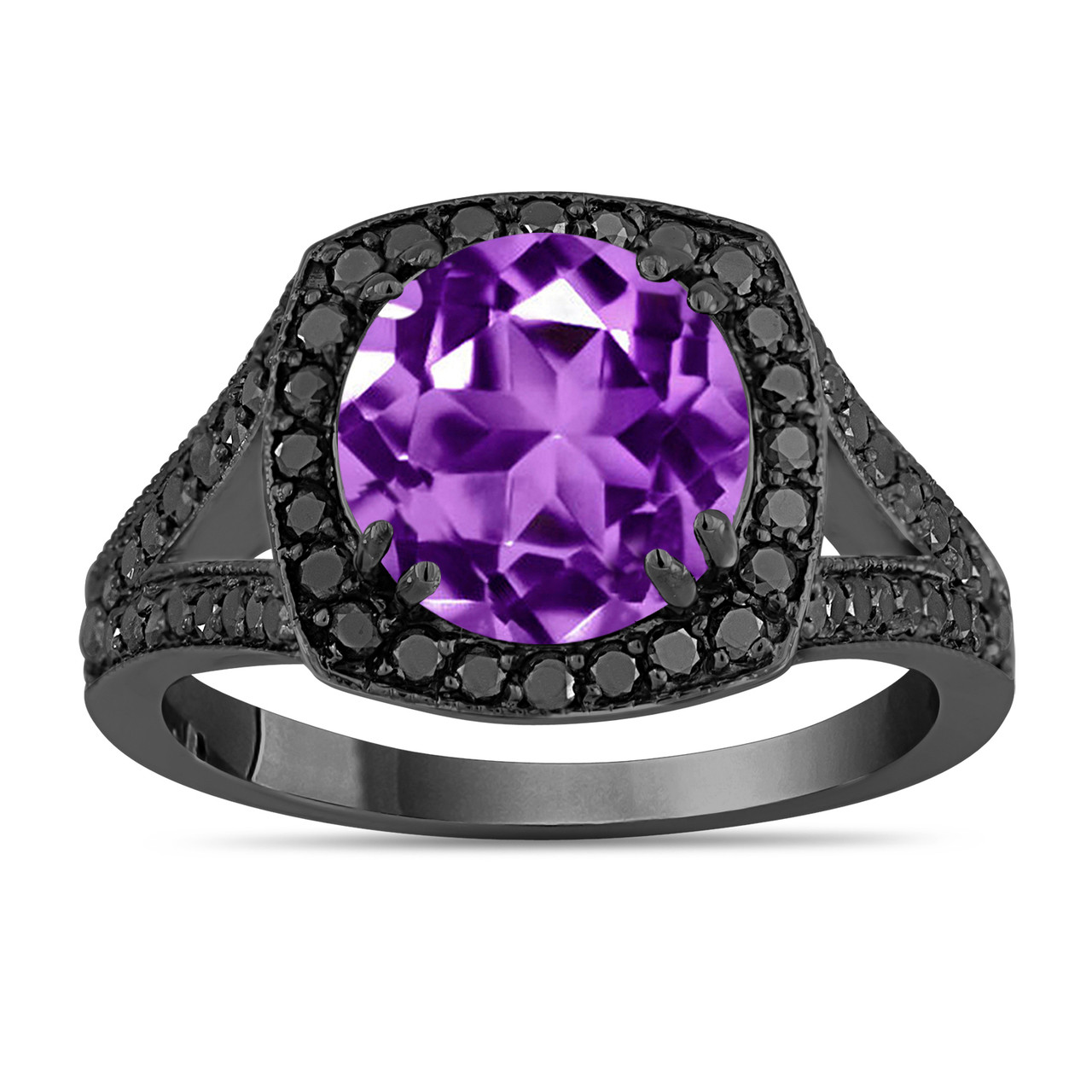 04 Carat Bands: 3.04 Carat Purple Amethyst Engagement Ring, With Black