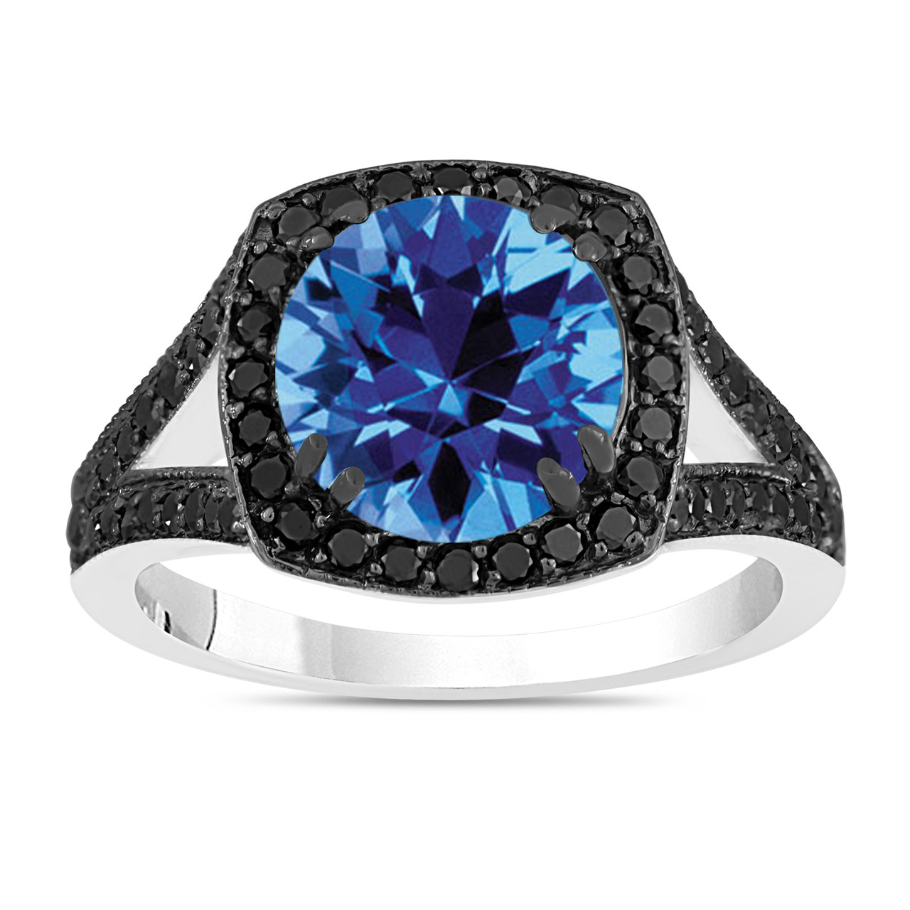 3.04 Carat Blue Topaz Engagement Ring, Wedding Ring With Black Diamonds 14K  White Gold Unique Halo Pave Handmade Certified