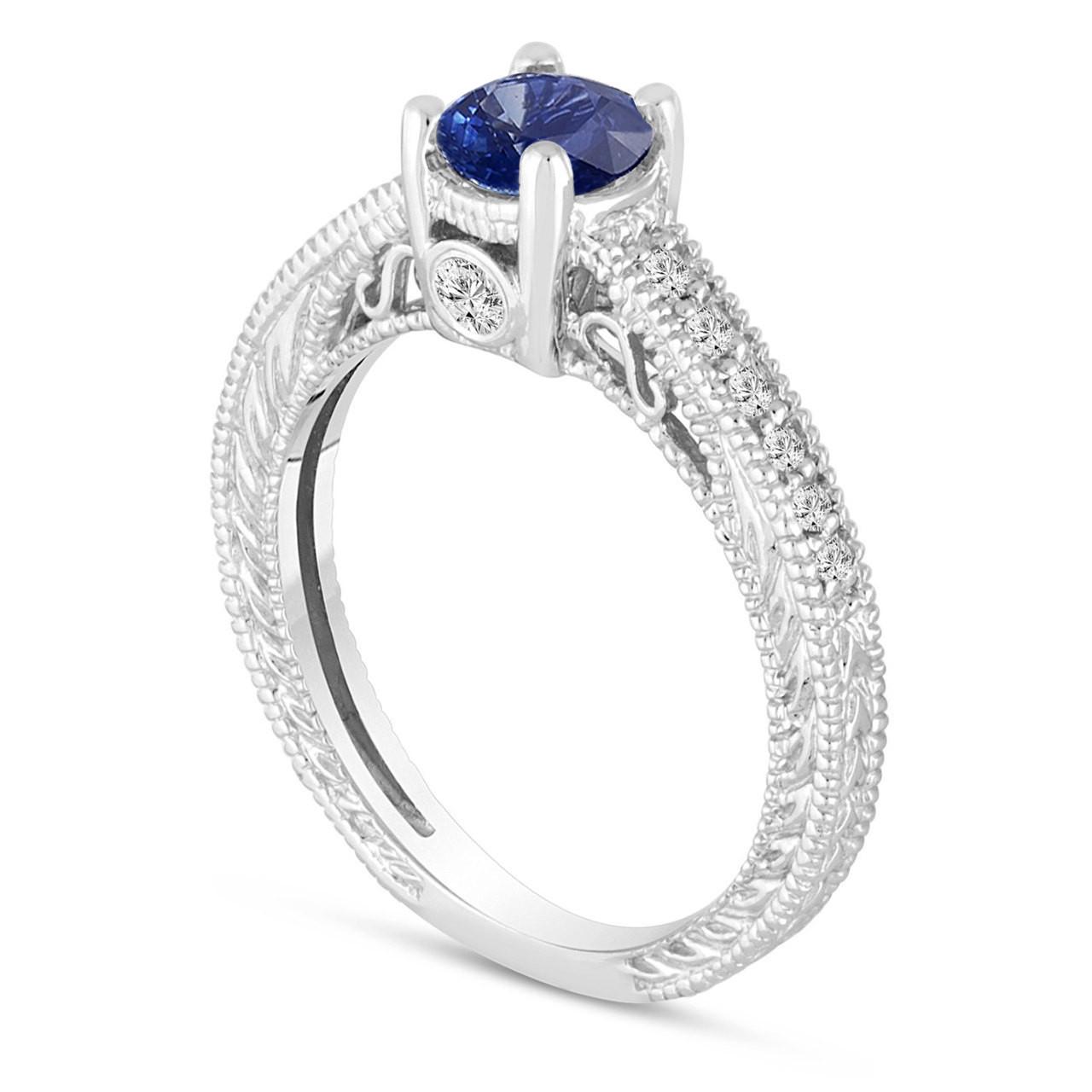 Platinum Sapphire Engagement Ring, With Diamonds Wedding