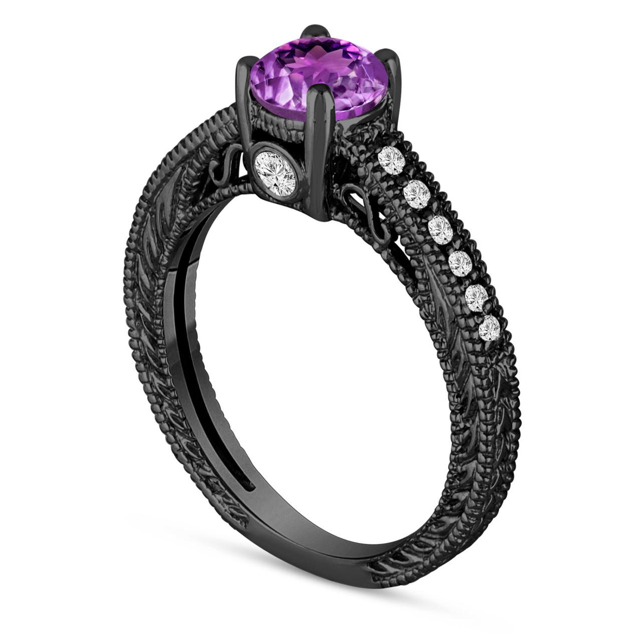 0 70 carat purple amethyst engagement ring  wedding ring 14k black gold vintage antique style
