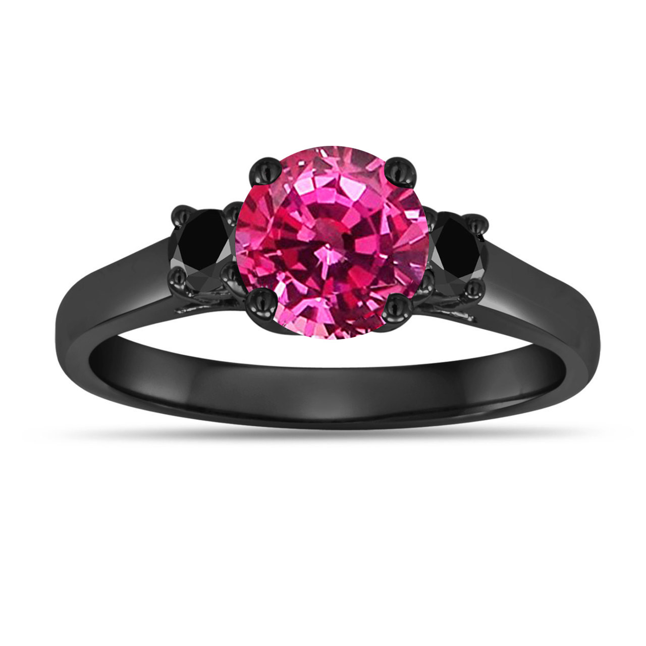 Black And Pink Wedding Rings: 1.32 Carat Pink Sapphire Three Stone Engagement Ring, With