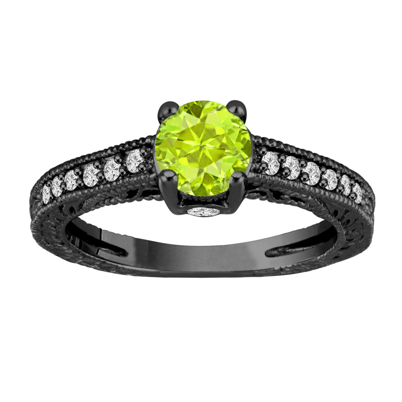 gold cut rings pin ring cushion engagement white peridot in ct