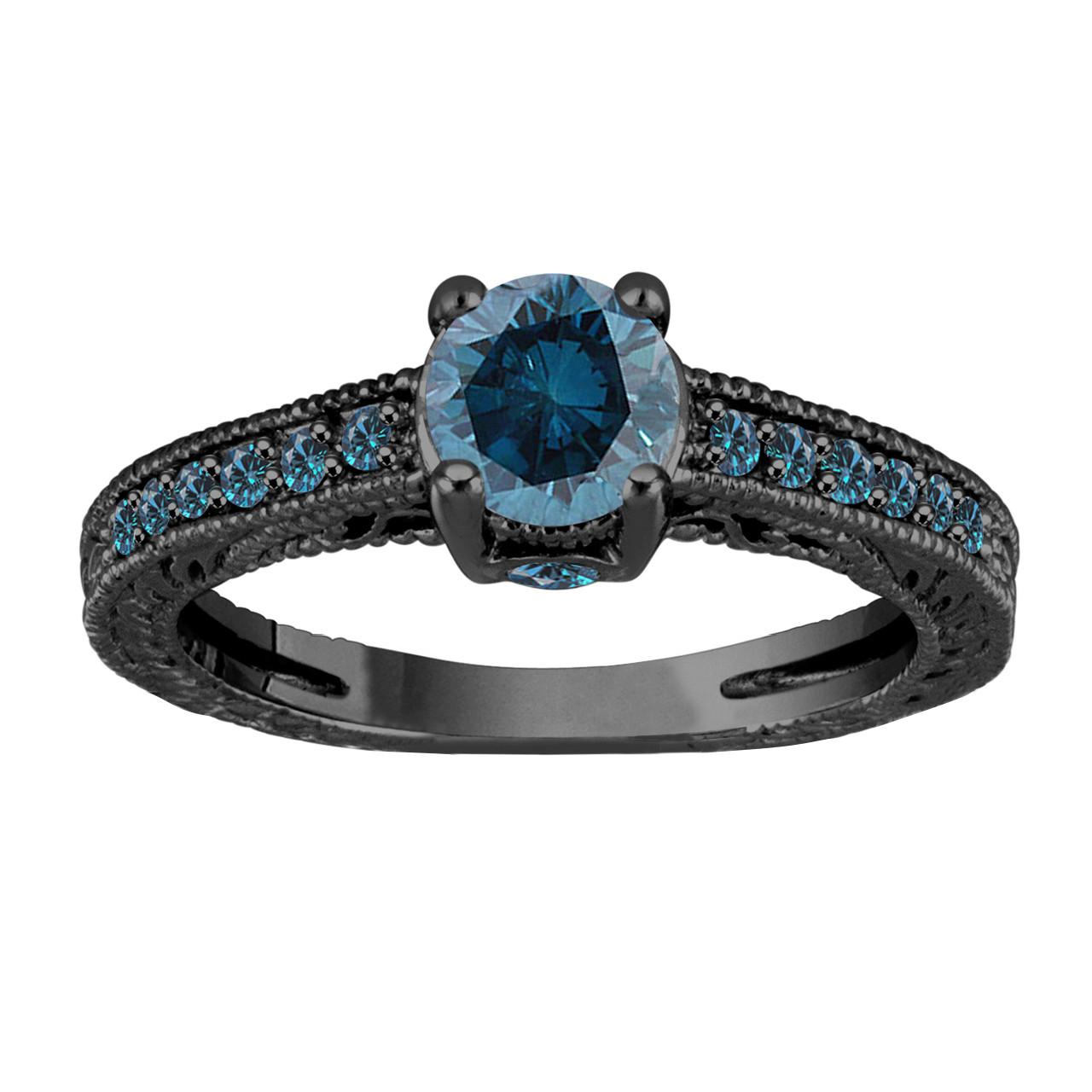1 20 carat blue diamond engagement ring  wedding ring 14k black gold unique vintage antique