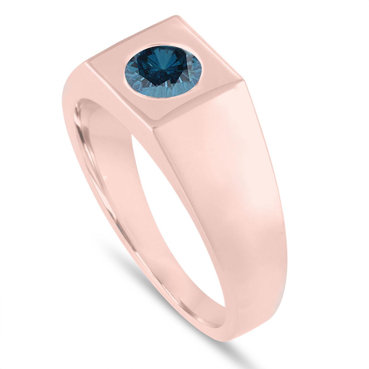 0.90 Carat Men\'s Blue Diamond Solitaire Wedding Ring, Mens ...