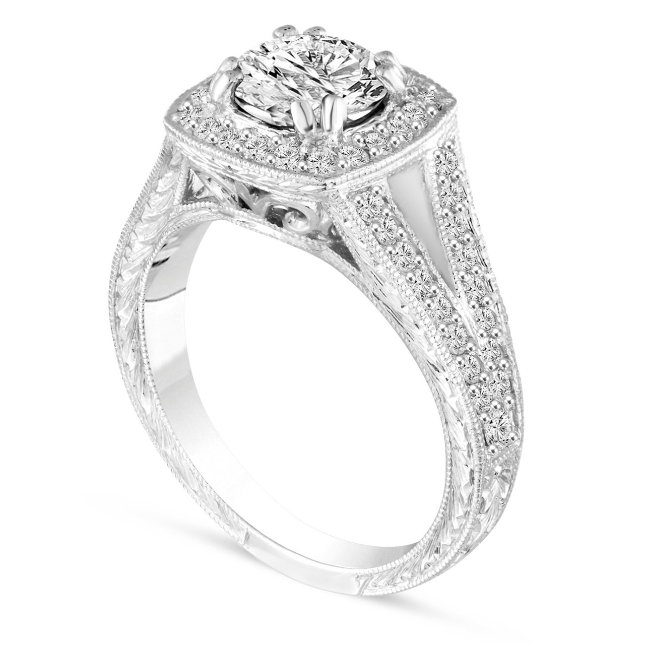 1.56 Carat Unique Diamond Engagement Ring, Platinum