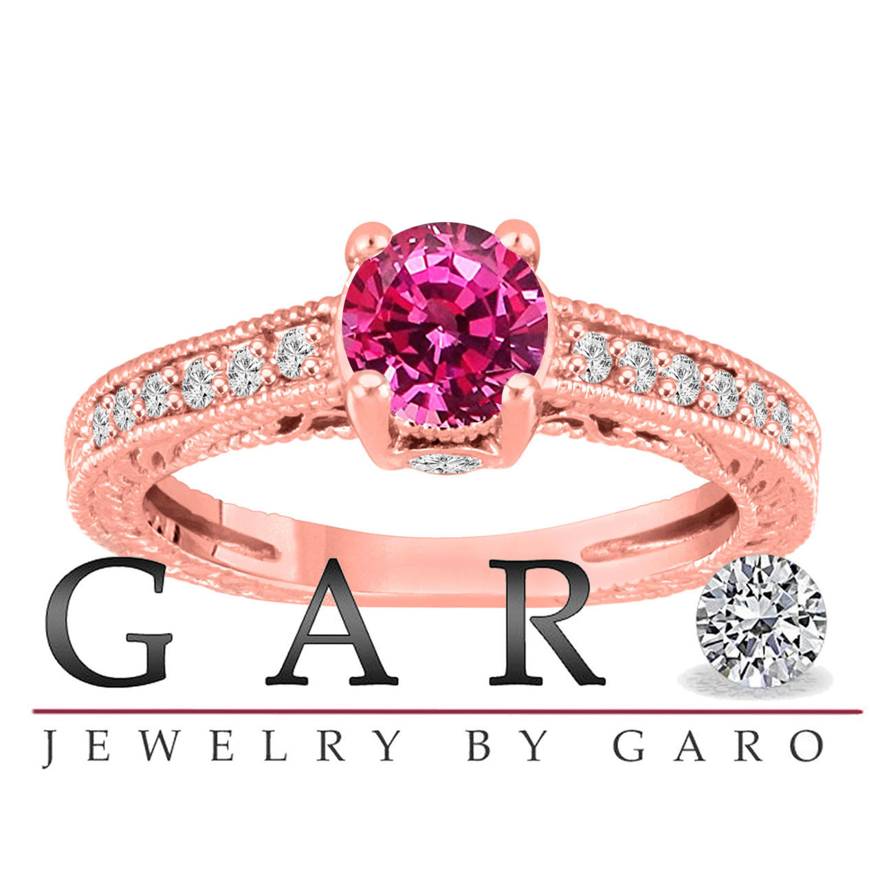 0.70 Carat Pink Sapphire Engagement Ring, 14K Rose Gold Wedding Ring ...