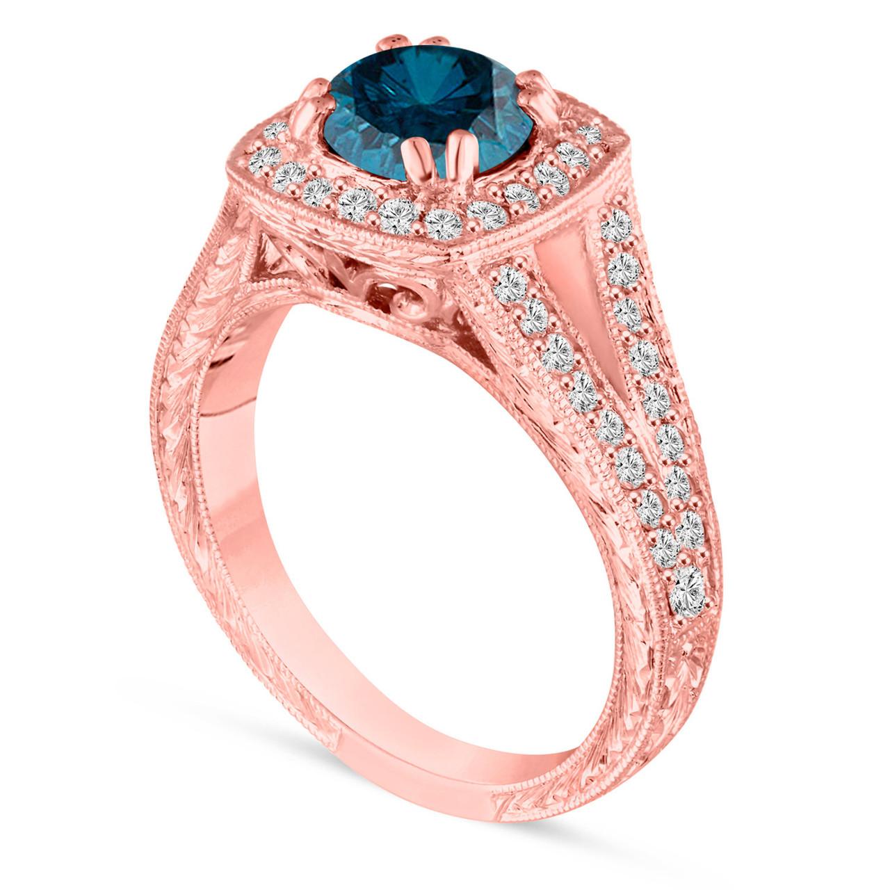 1.56 Carat Blue Diamond Engagement Ring, Unique Wedding Ring 14K ...