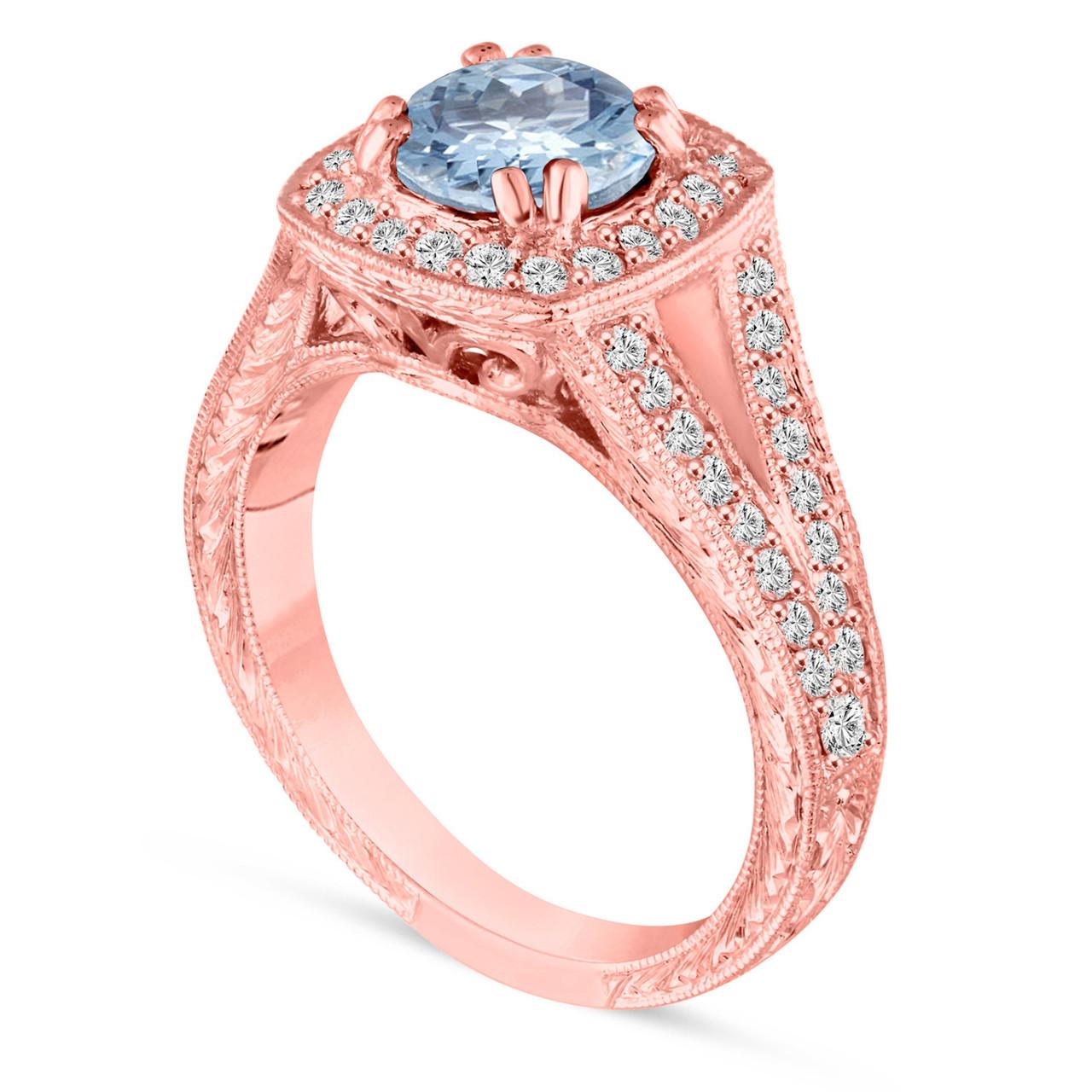Aquamarine Engagement Ring, 14K Rose Gold Wedding Ring 1.46 Carat ...