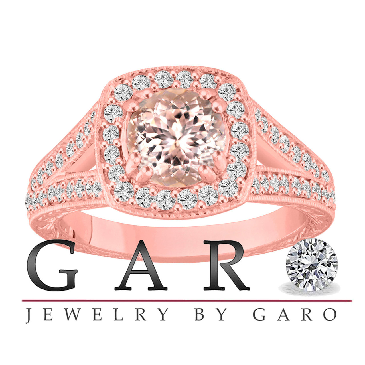 14K Rose Gold Morganite Engagement Ring, With Diamonds Wedding Ring ...
