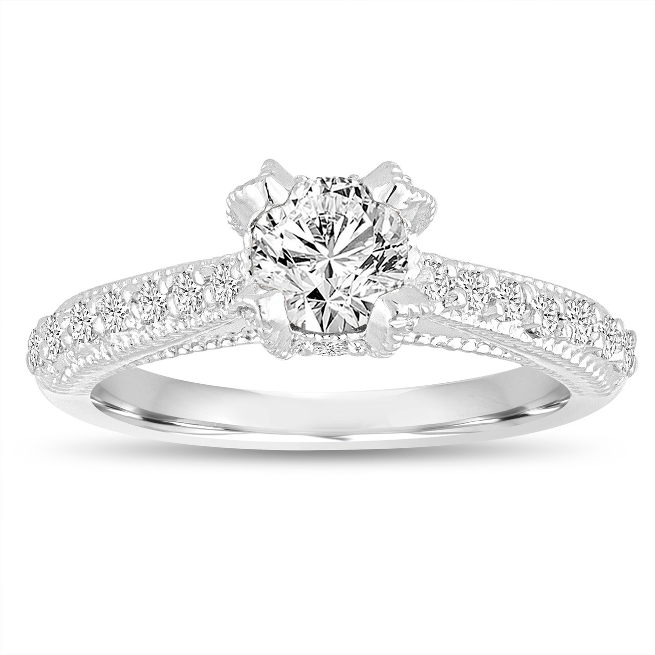 Vintage Style Wedding Rings: 0.82 Carat GIA Diamond Engagement Ring, Wedding Ring 14K
