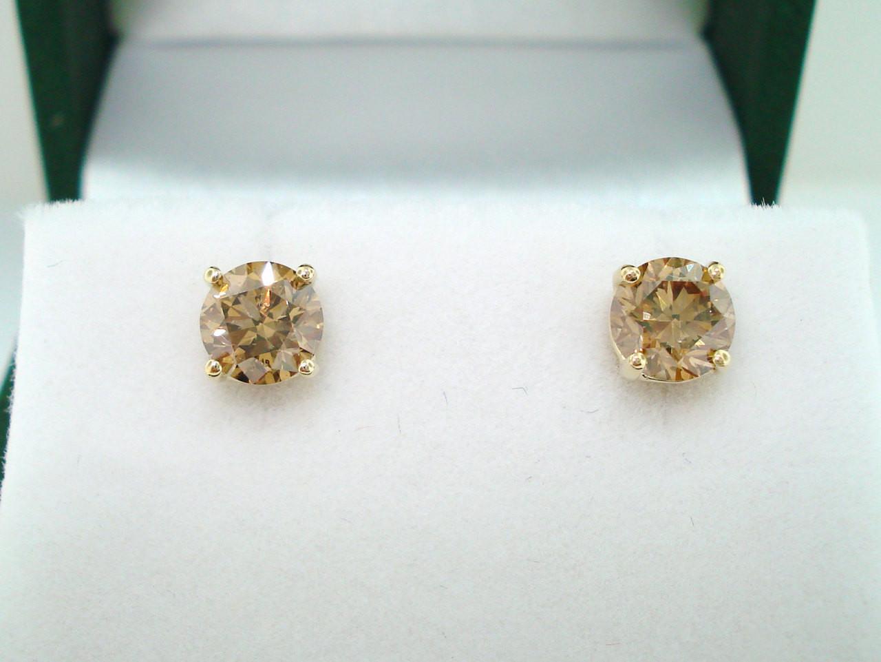 carat fancy champagne brown diamond stud earrings 14k. Black Bedroom Furniture Sets. Home Design Ideas