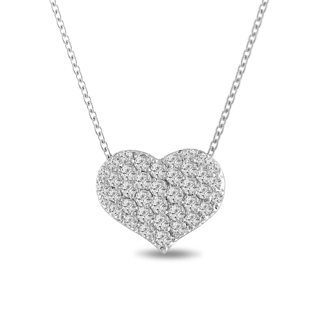 Diamond heart pendant necklace 100 carat 14k white gold pave set diamond heart pendant necklace 100 carat 14k white gold pave set handmade certified aloadofball Choice Image