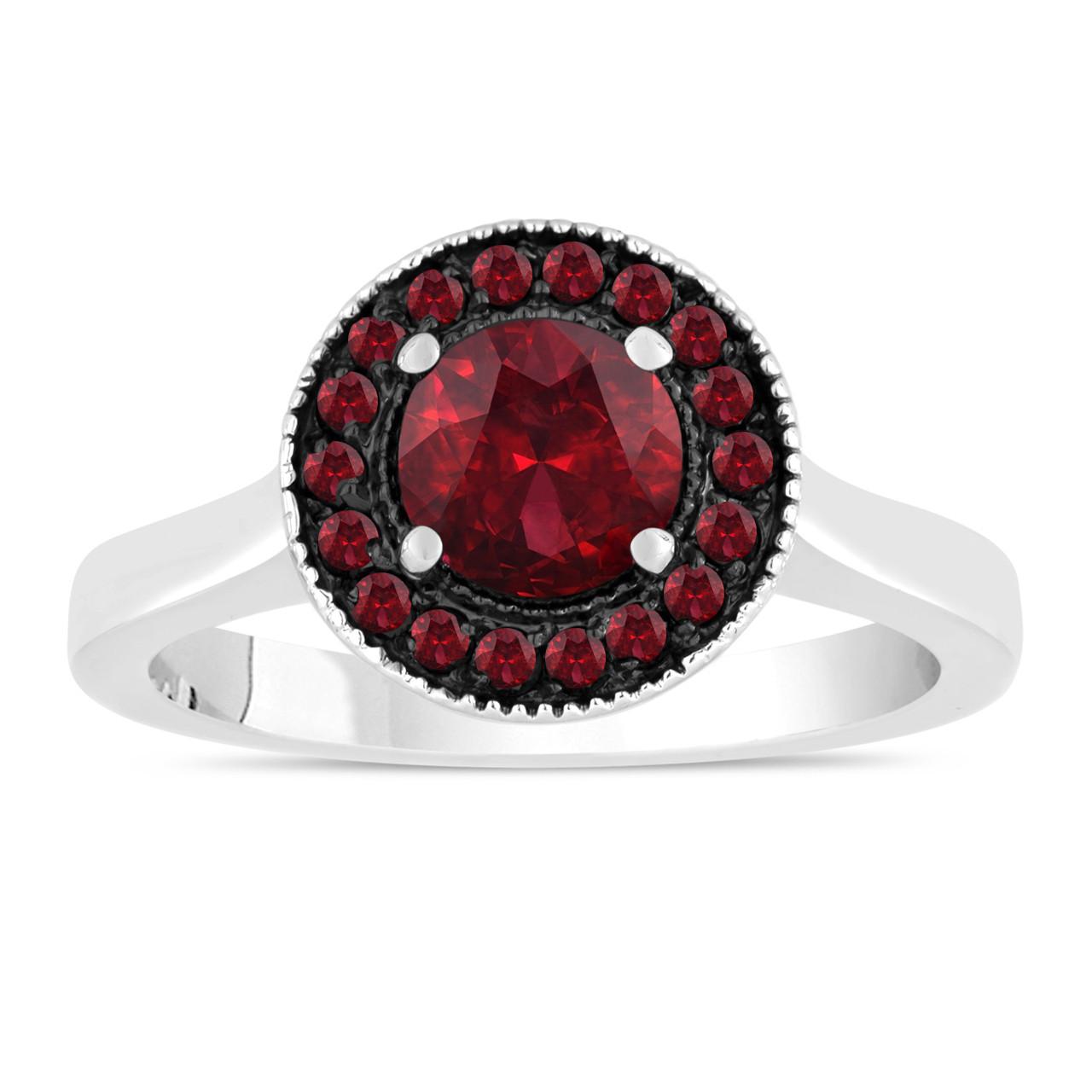 120 carat garnet engagement ring wedding ring 14k white