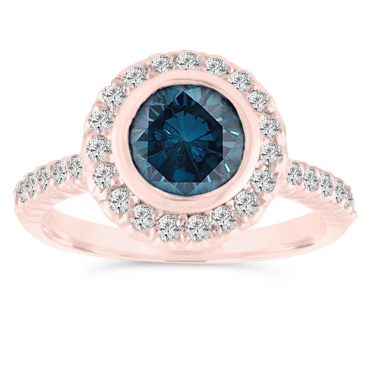Bezel Set Blue Diamond Engagement Ring, 14K Rose Gold Wedding Ring ...