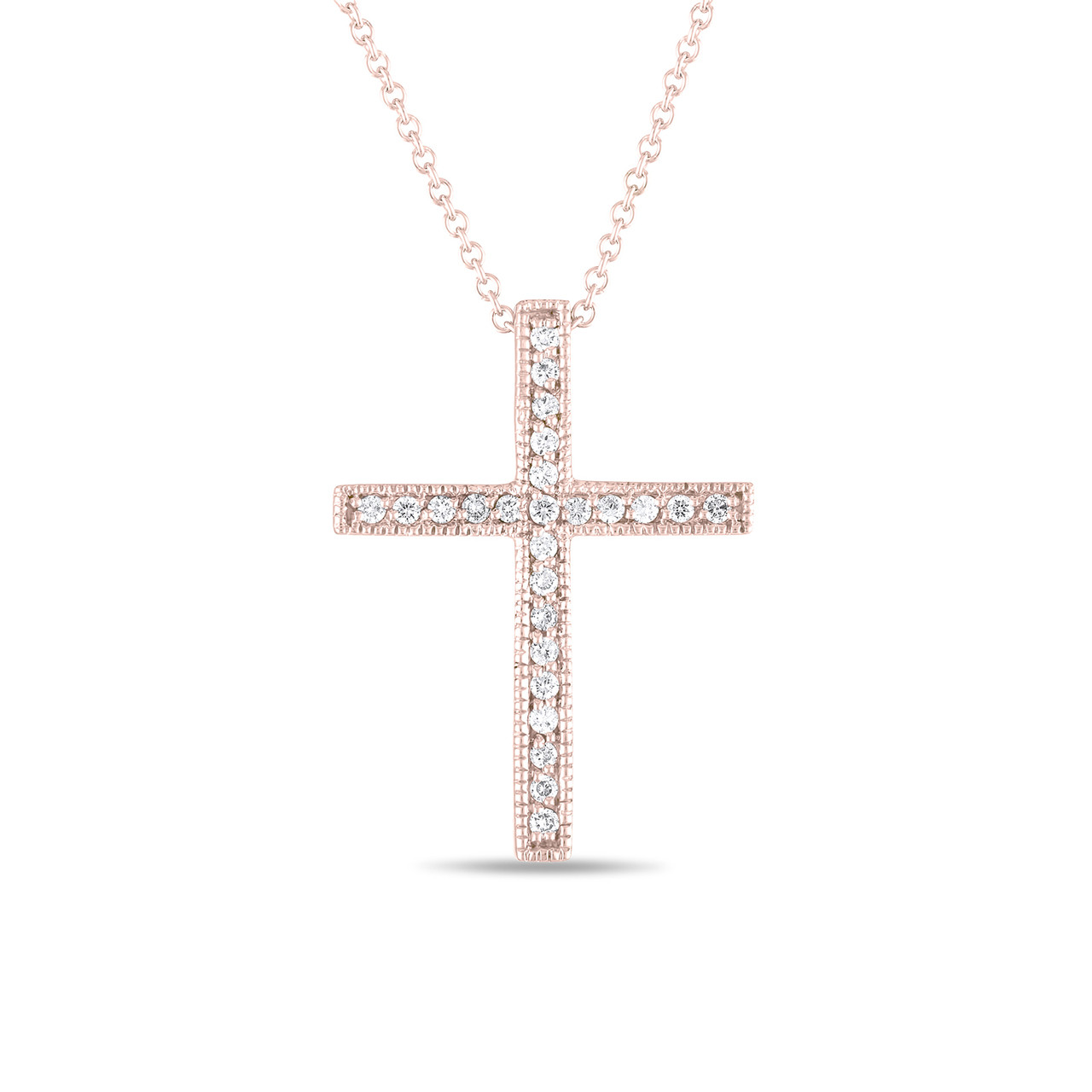 Pave diamond cross pendant necklace 025 carat 14k rose gold handmade aloadofball Image collections