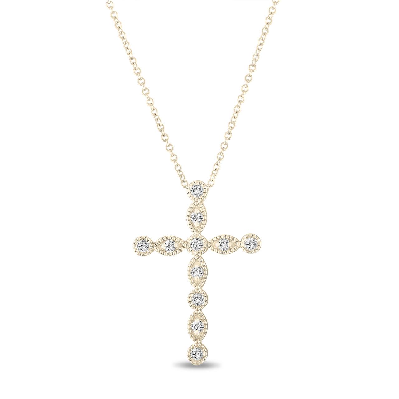 032 carat diamond cross pendant necklace 14k yellow gold pave bezel 032 carat diamond cross pendant necklace 14k yellow gold pave bezel set handmade aloadofball Gallery