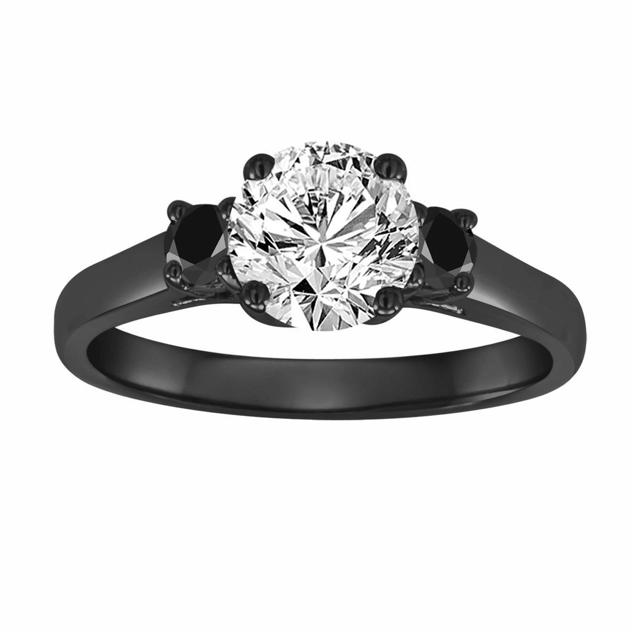 gia 1 08 carat three stone diamond engagement ring with fancy black