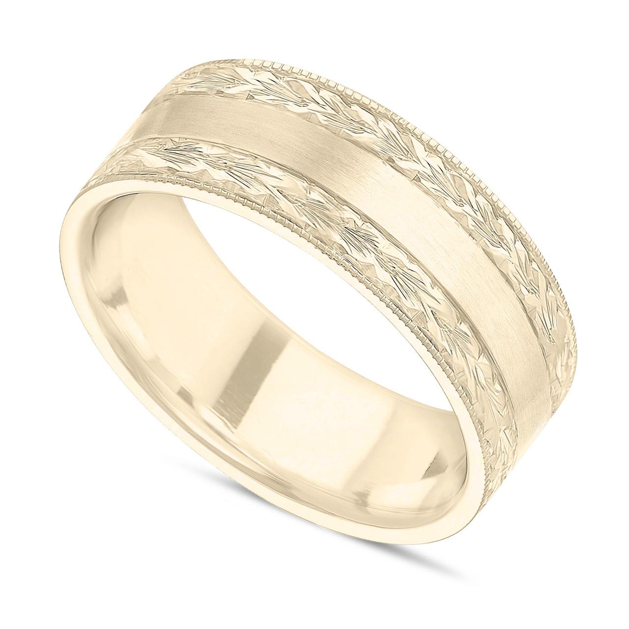 Unique Hand Engraved Wedding Band, Men's Wedding Ring