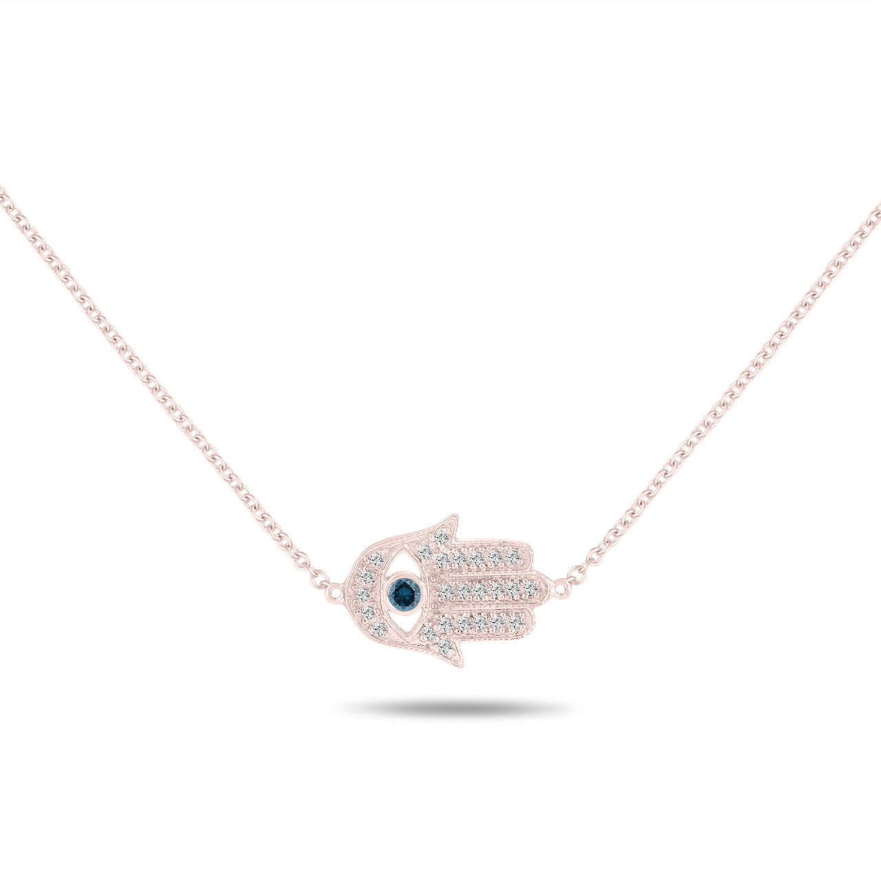 Hamsa diamond pendant necklace blue diamond evil eye pendant 14k hamsa diamond pendant necklace blue diamond evil eye pendant 14k rose gold 032 carat unique handmade aloadofball Images