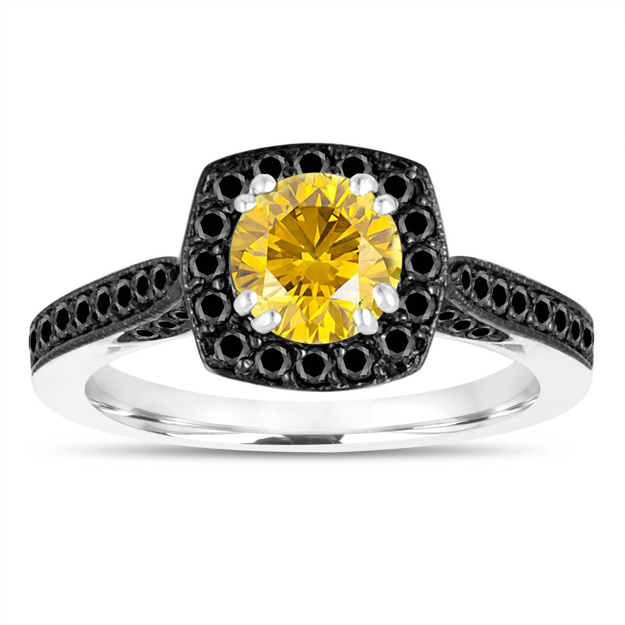 engagement wedding gold black diamond rings diamonds yellow carat canary certified ring pave white with halo