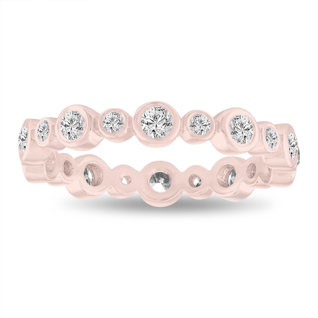 Eternity Wedding Band Diamond Bubble Band 14k Rose Gold