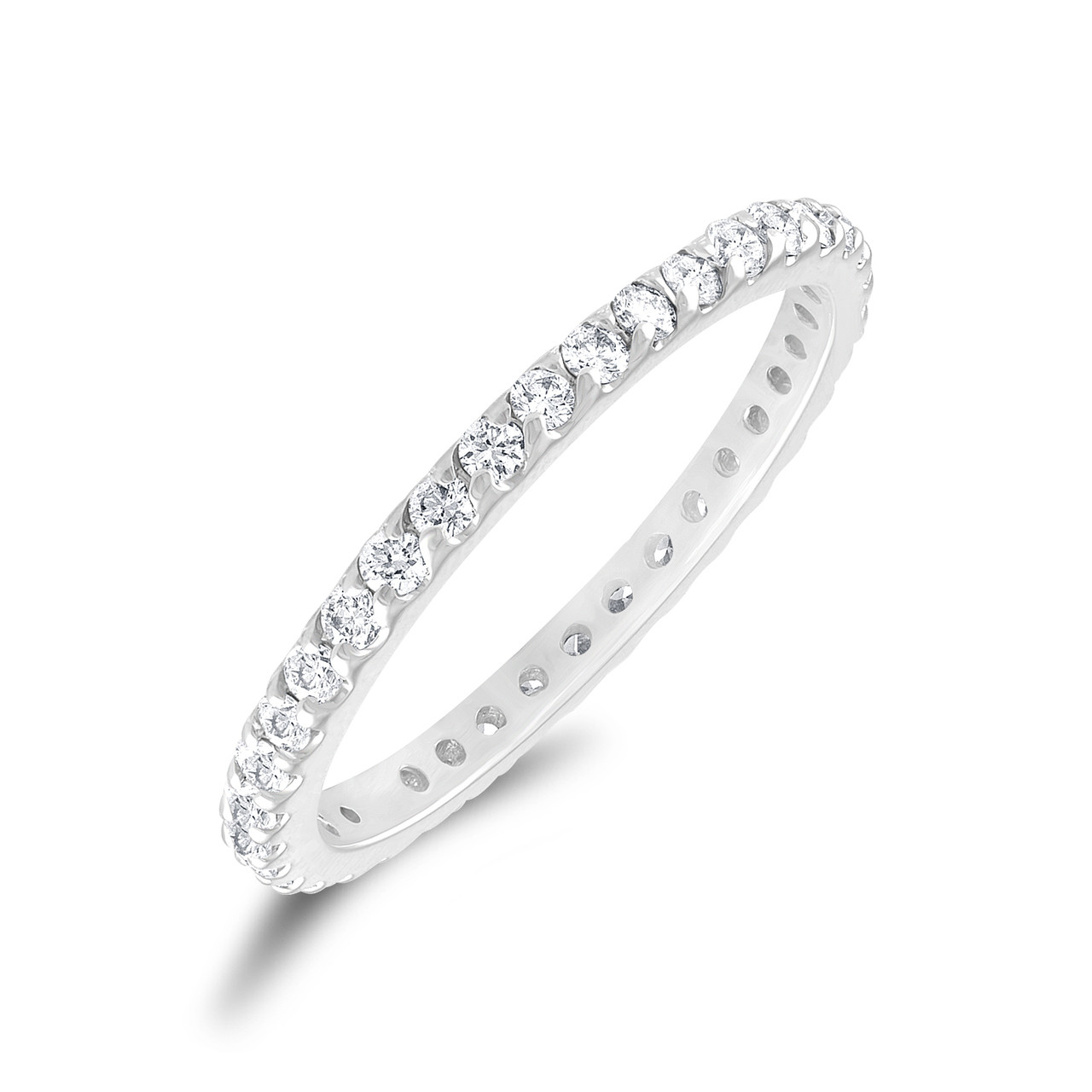 0.56 Carat Diamond Eternity Ring, Pave Wedding Band ...